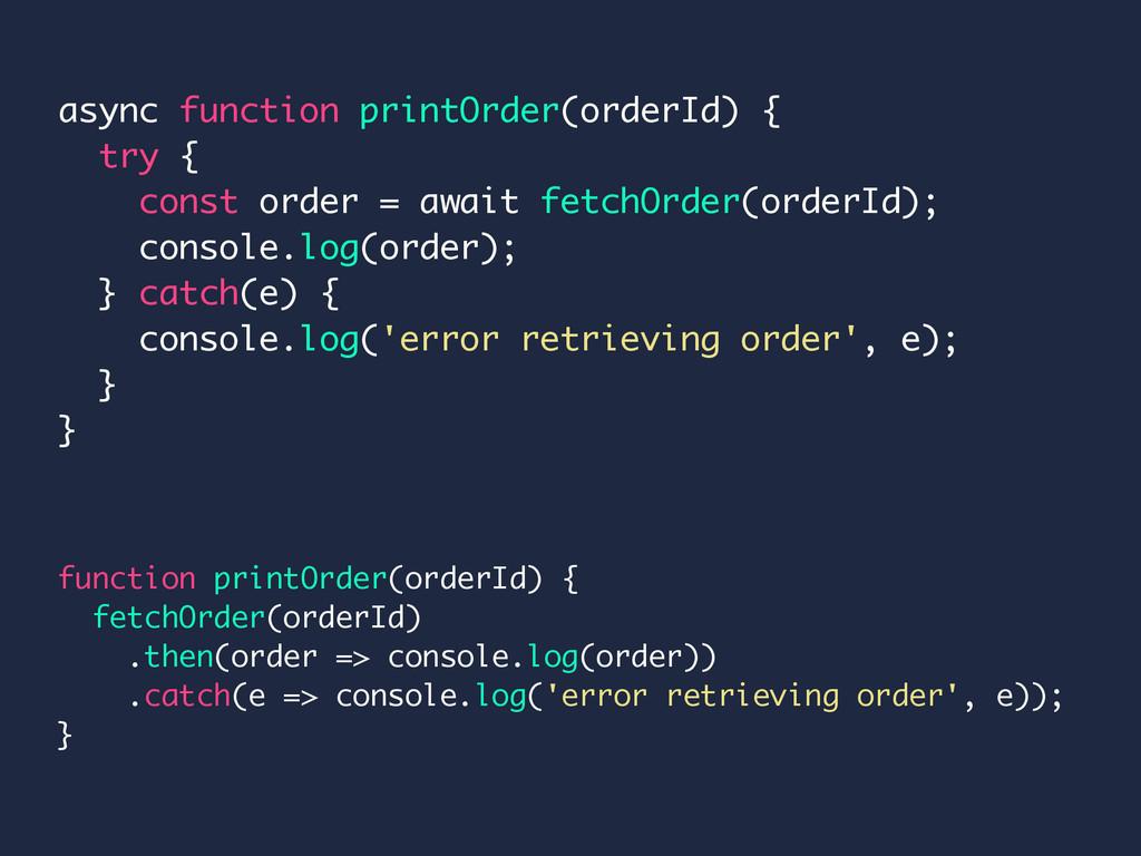function printOrder(orderId) { fetchOrder(order...