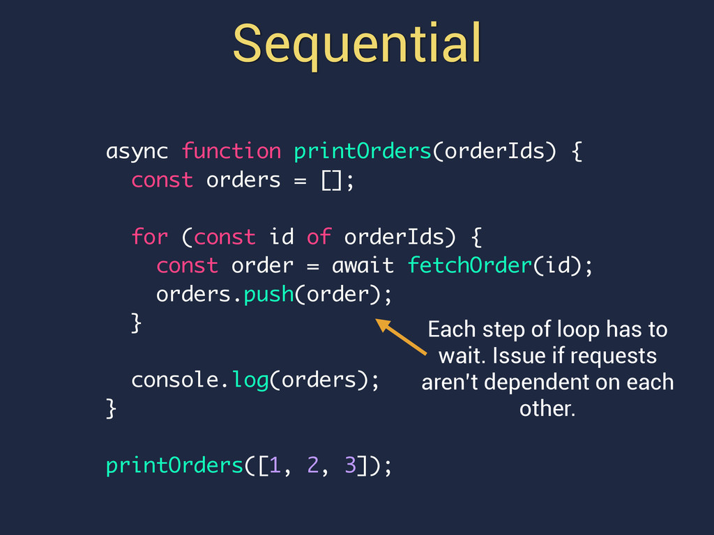Sequential async function printOrders(orderIds)...