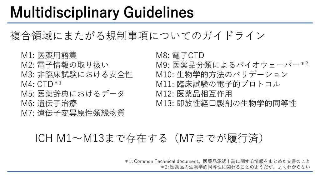 Multidisciplinary Guidelines 複合領域にまたがる規制事項についての...