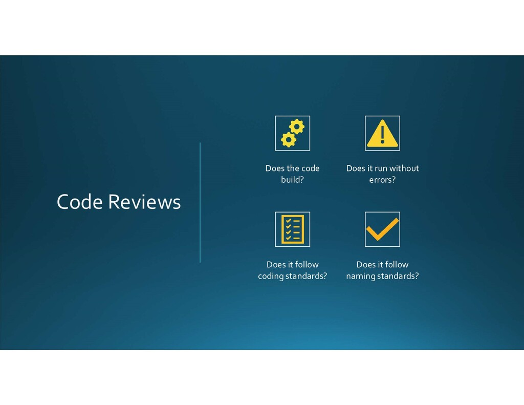 Code Reviews Does the code build? Does it run w...