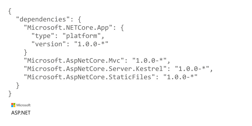 "{ ""dependencies"": { ""Microsoft.NETCore.App"": { ..."