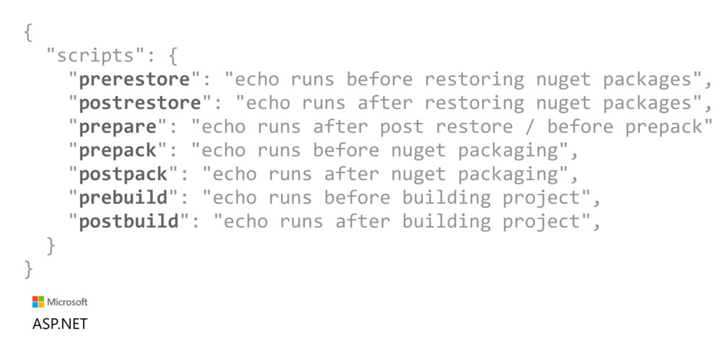 "{ ""scripts"": { ""prerestore"": ""echo runs before ..."