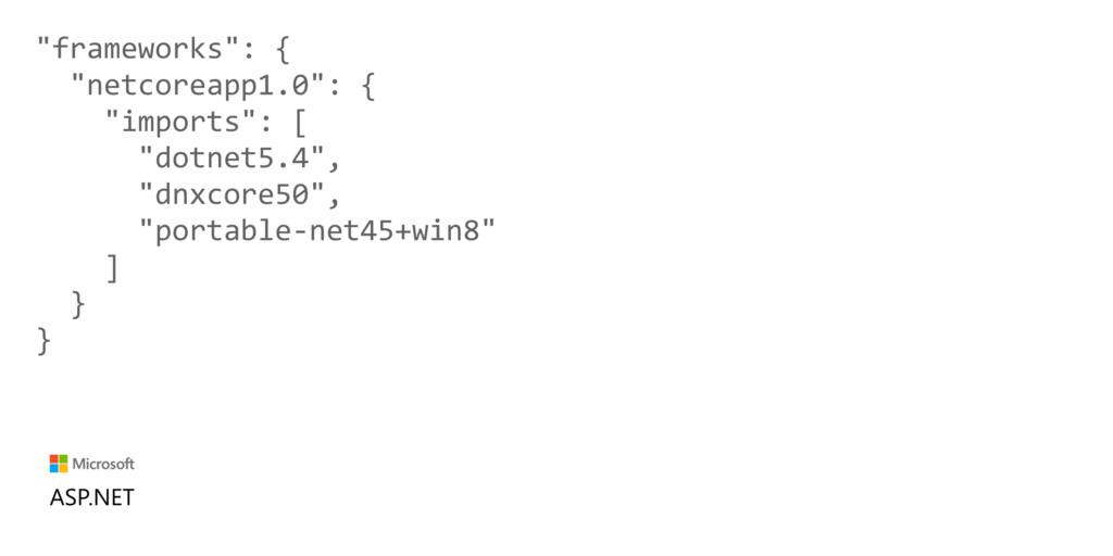 """""""frameworks"""": { """"netcoreapp1.0"""": { """"imports"""": [..."""