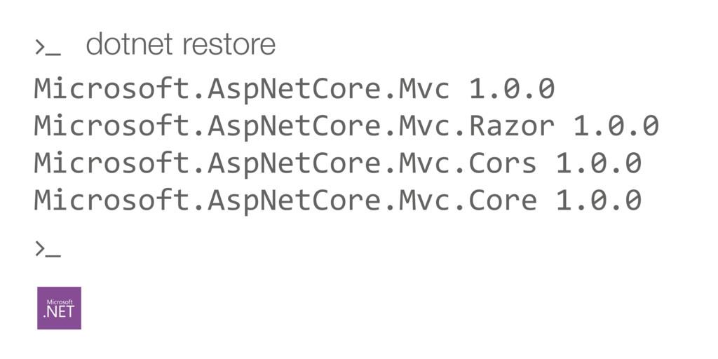 Microsoft.AspNetCore.Mvc 1.0.0 Microsoft.AspNet...