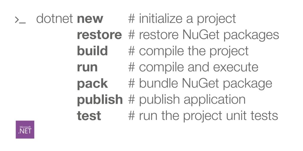 dotnet new dotnet restore dotnet build dotnet r...