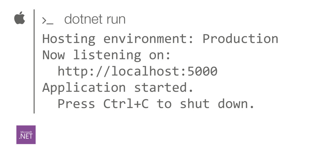  dotnet run ' Hosting environment: Production ...