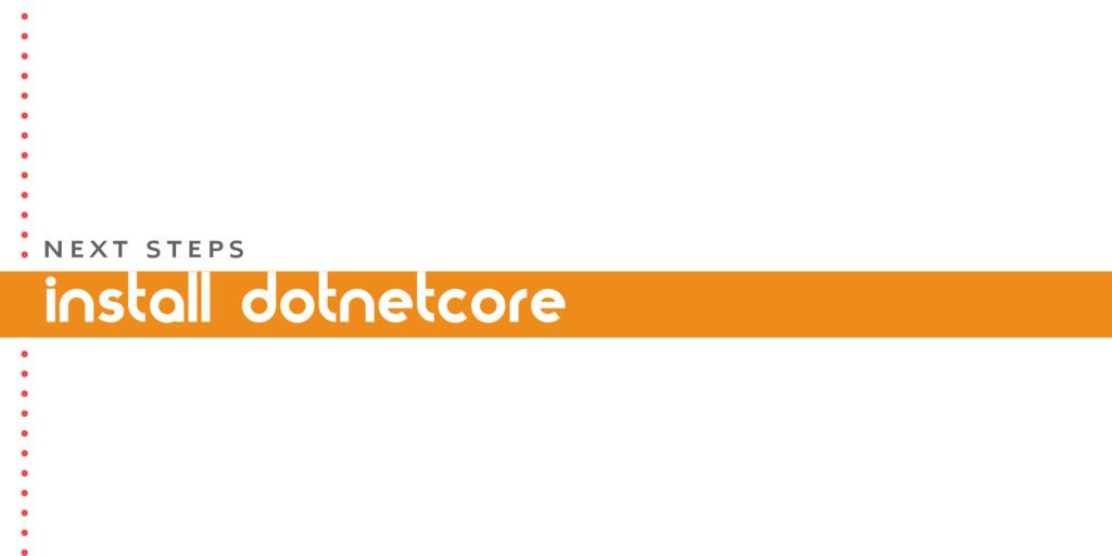install dotnetcore N E X T S T E P S