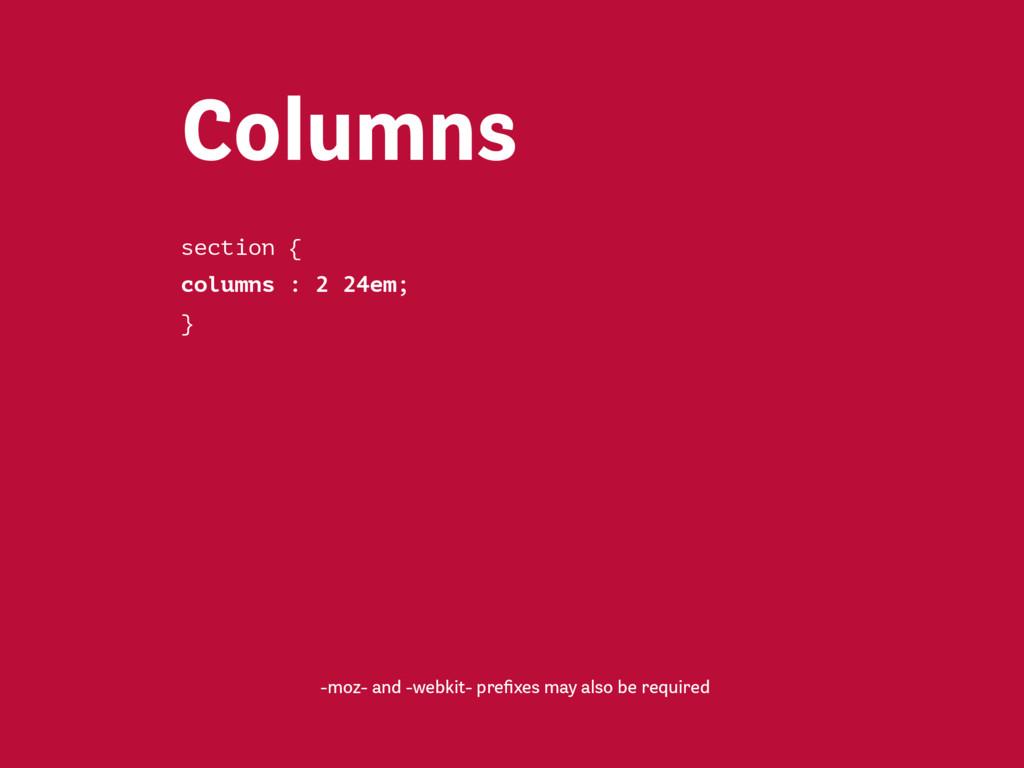 Properties Column count Column width Column spa...