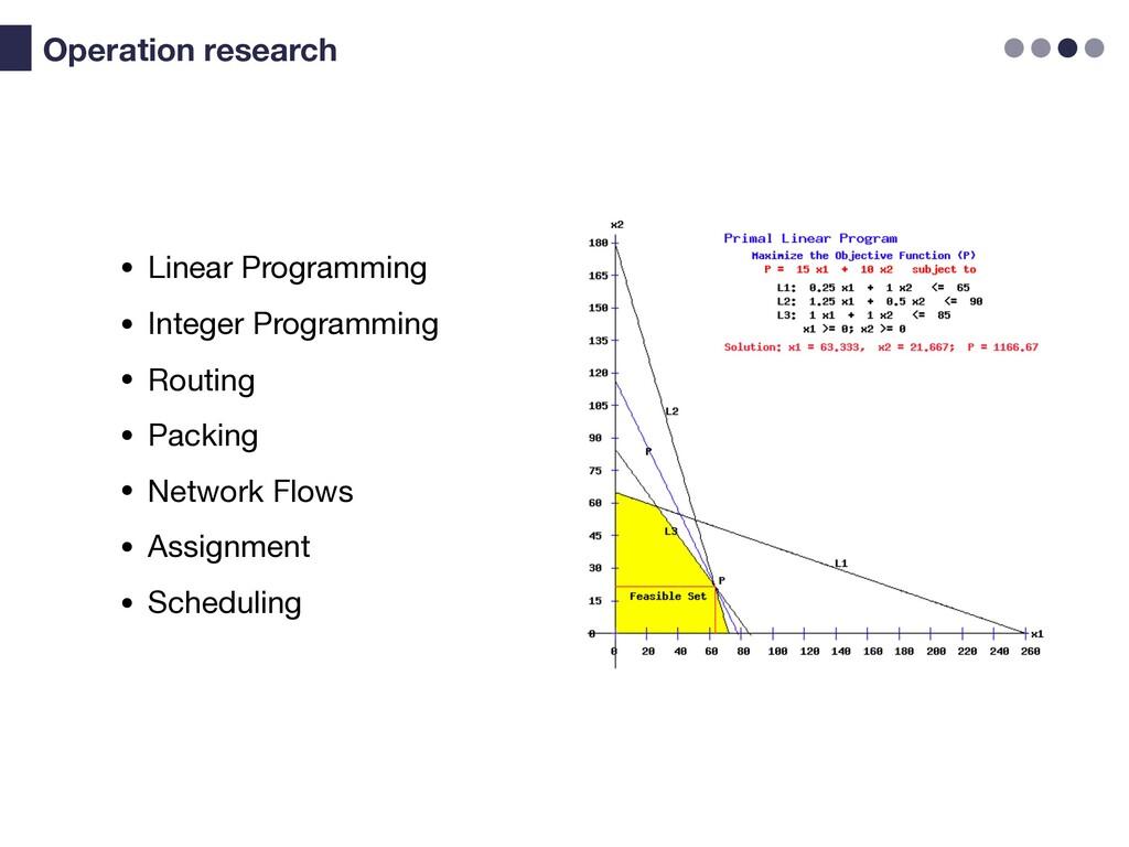 • Linear Programming  • Integer Programming  • ...