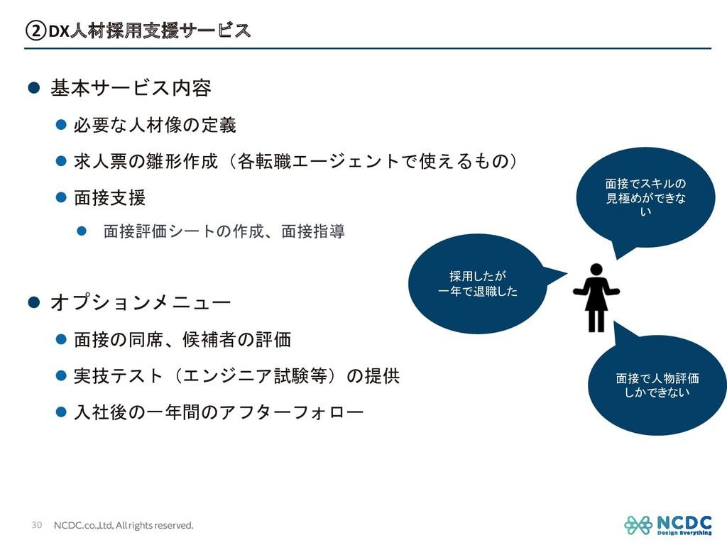 ②DX人材採用支援サービス l 基本サービス内容 l 必要な人材像の定義 l 求人票の雛形作成...
