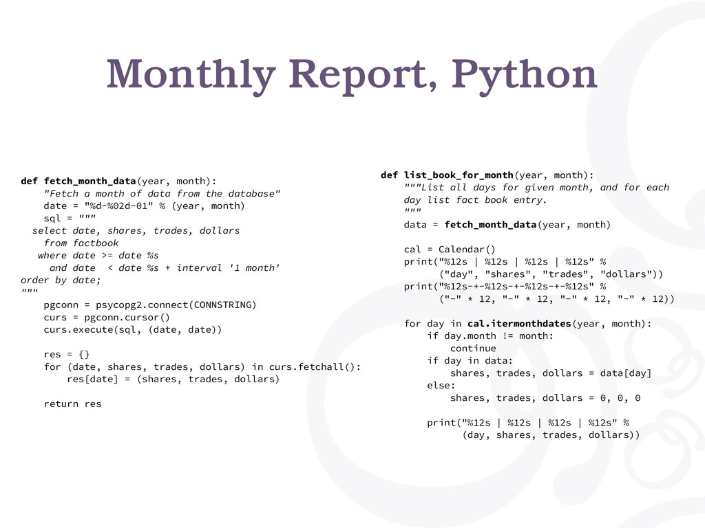 Monthly Report, Python def fetch_month_data(yea...