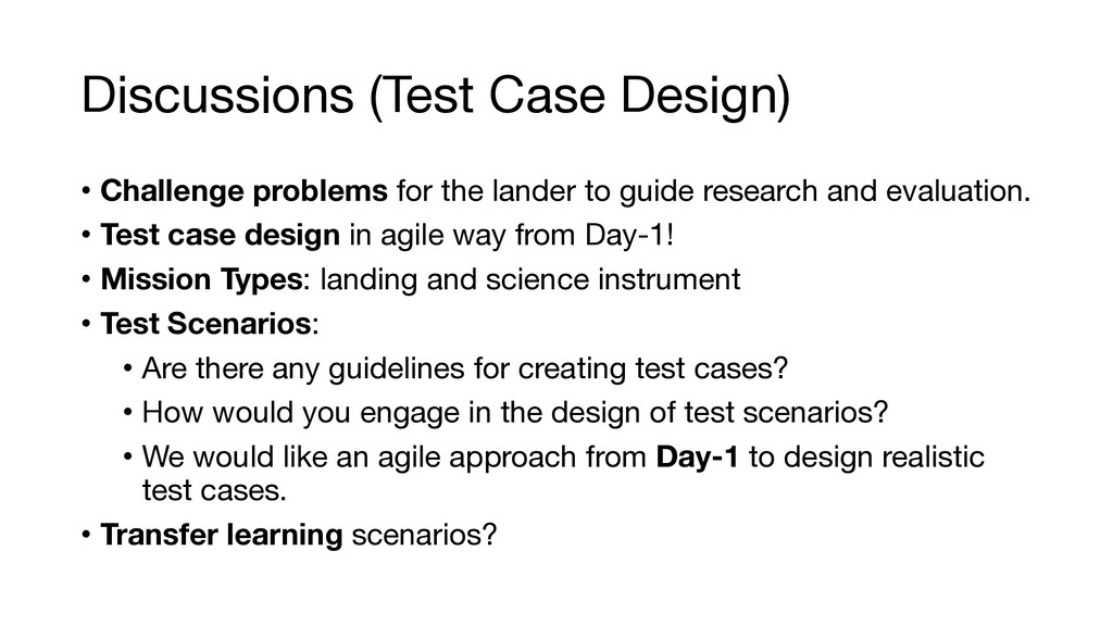 Discussions (Test Case Design) • Challenge prob...