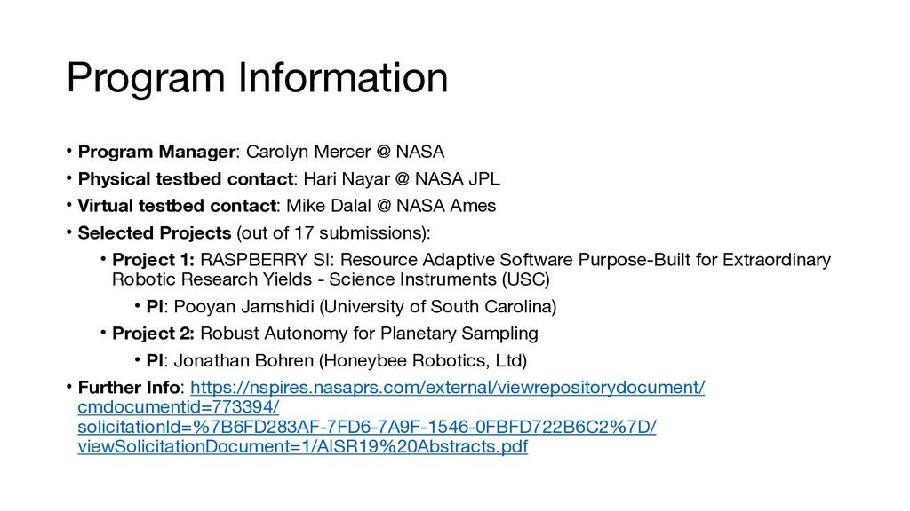 Program Information • Program Manager: Carolyn ...