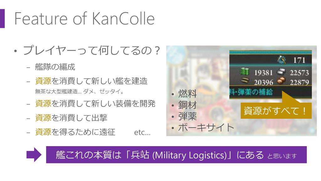 Feature of KanColle • プレイヤーって何してるの? − 艦隊の編成 − 資...