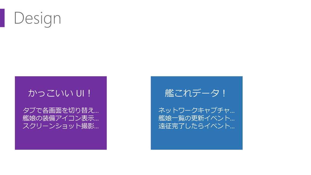 Design かっこいい UI! タブで各画面を切り替え… 艦娘の装備アイコン表示… スクリー...