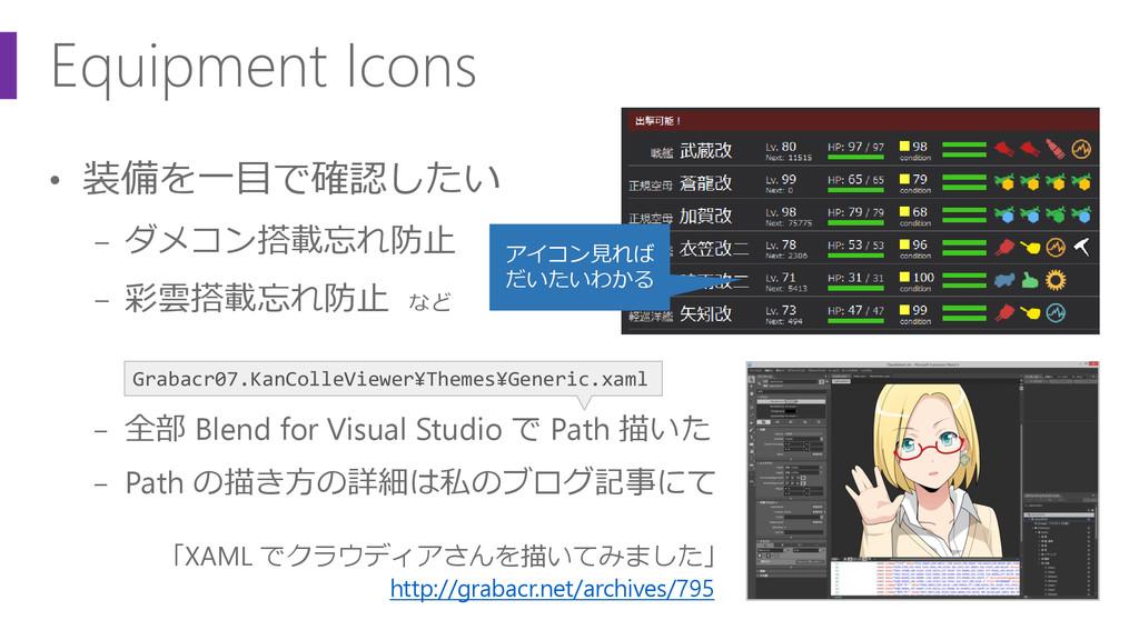 Equipment Icons • 装備を一目で確認したい − ダメコン搭載忘れ防止 − 彩雲...