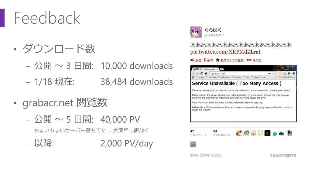 Feedback • ダウンロード数 − 公開 ~ 3 日間: 10,000 download...