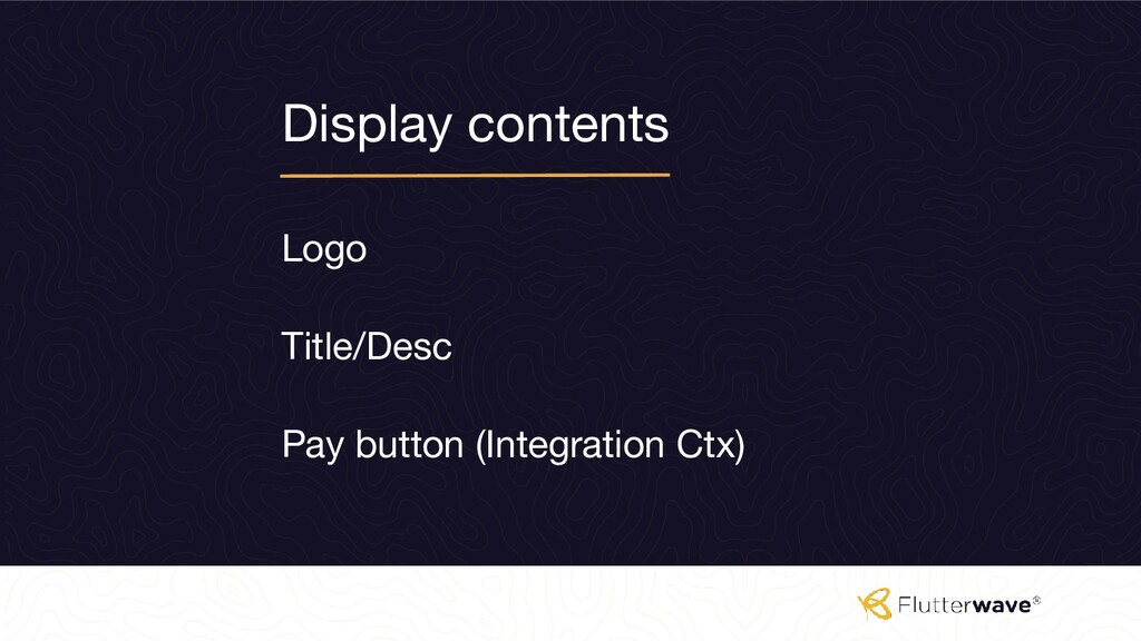 Display contents Logo Pay button (Integration C...