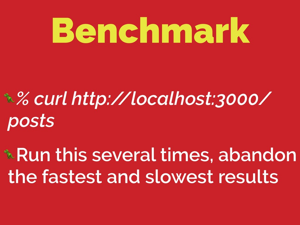 Benchmark % curl http:/ /localhost:3000/ posts ...