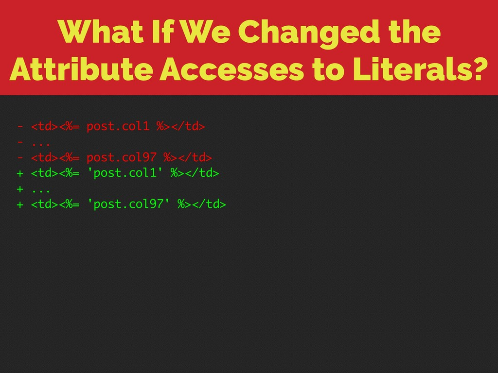 What If We Changed the Attribute Accesses to Li...