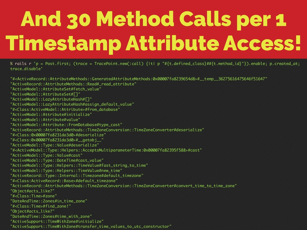 And 30 Method Calls per 1 Timestamp Attribute A...