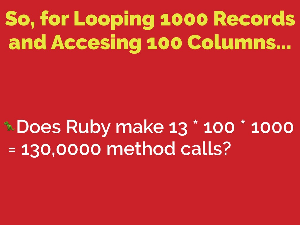 So, for Looping 1000 Records and Accesing 100 C...