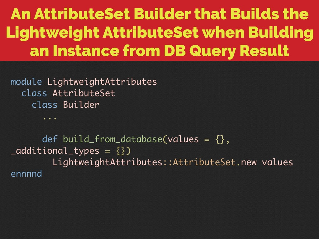 An AttributeSet Builder that Builds the Lightwe...