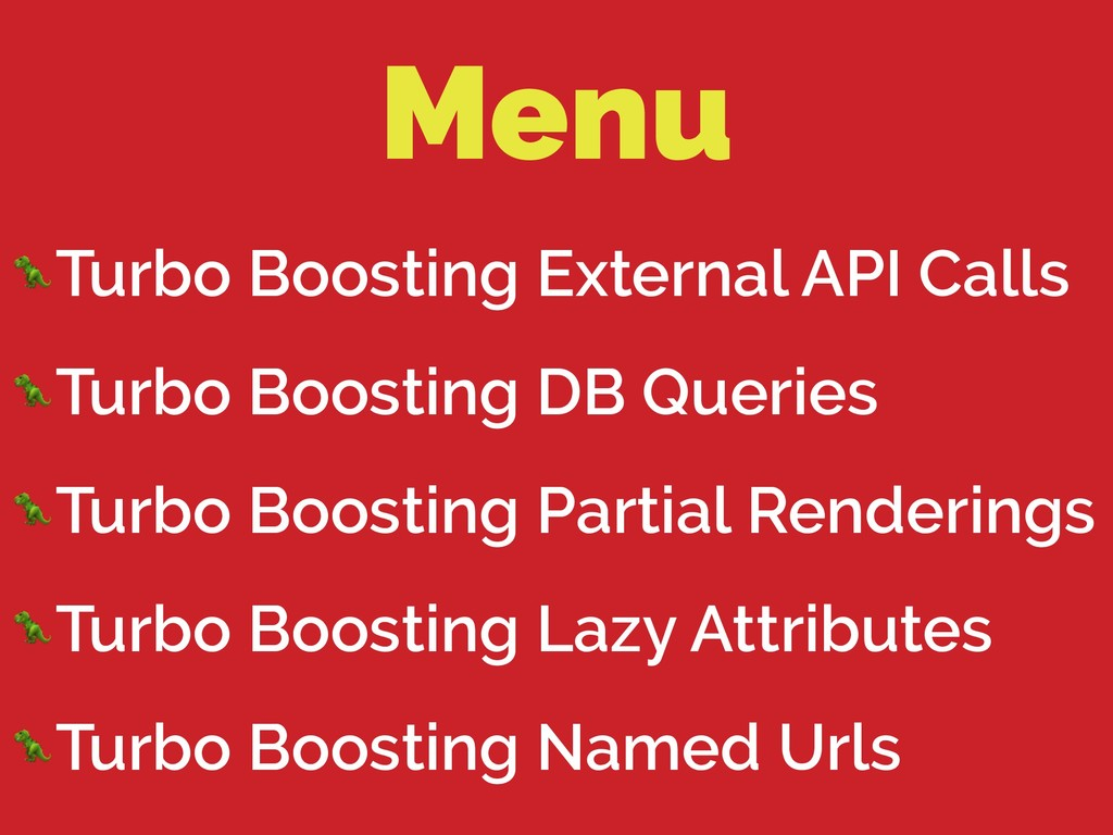 Menu Turbo Boosting External API Calls Turbo Bo...