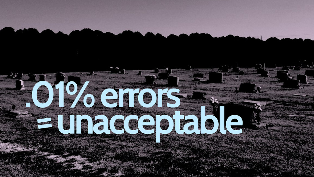 .01% errors unacceptable =