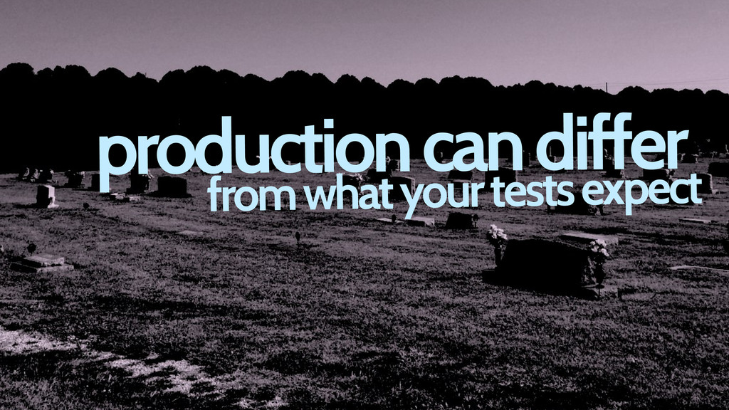 production can differ from what your tests expe...