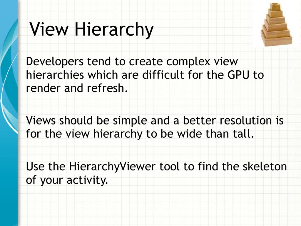 View Hierarchy Developers tend to create comple...
