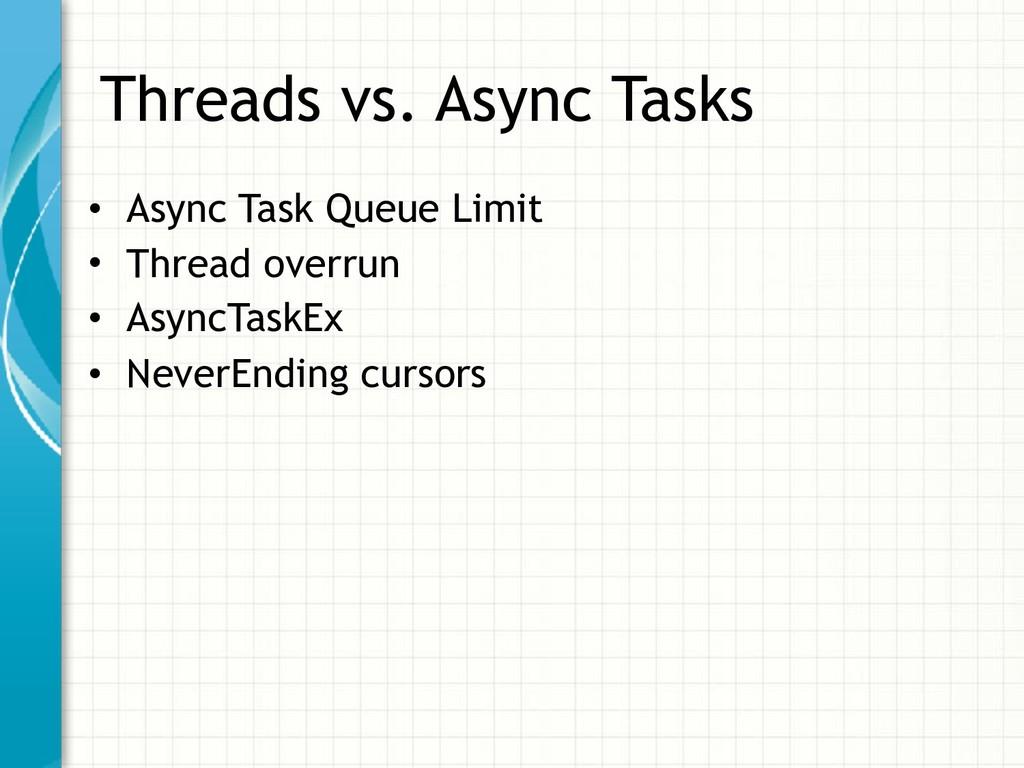 Threads vs. Async Tasks • Async Task Queue Limi...
