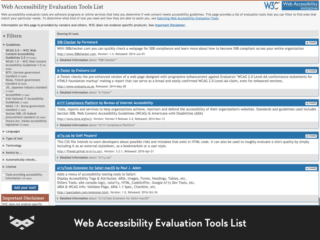 Web Accessibility Evaluation Tools List