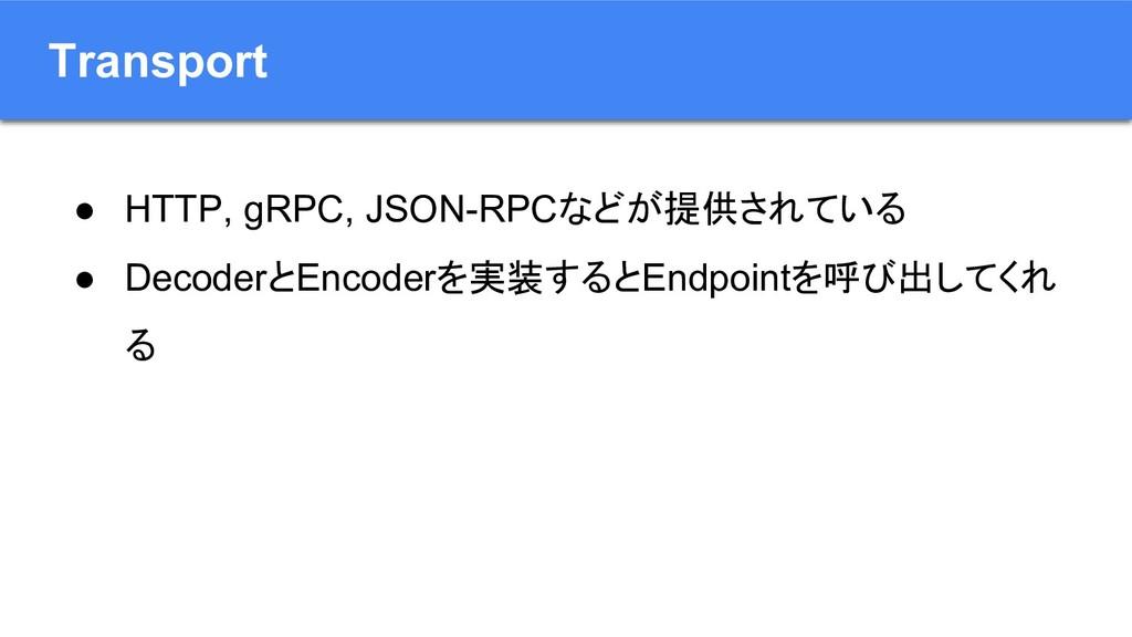 Transport ● HTTP, gRPC, JSON-RPCなどが提供されている ● De...