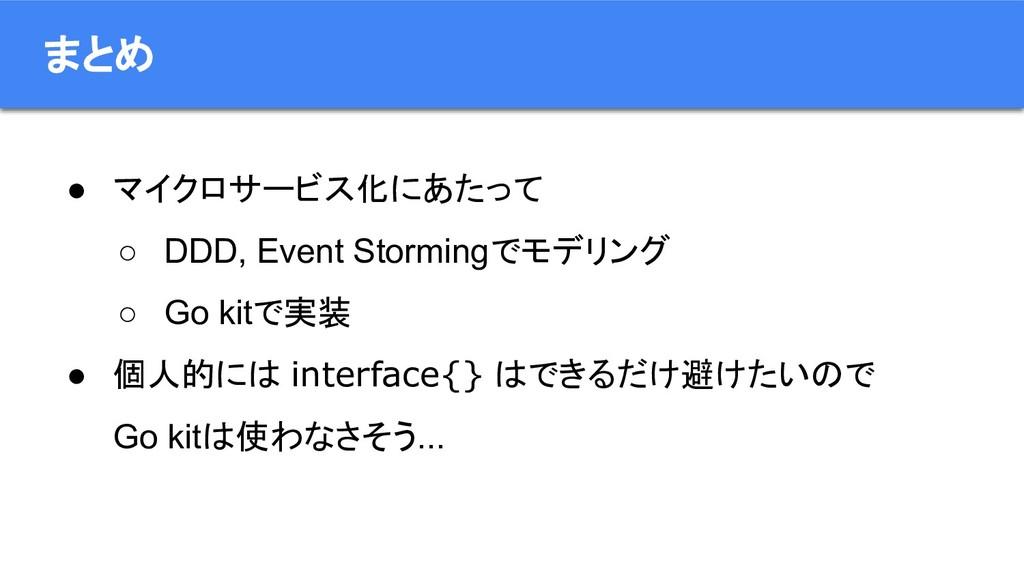 まとめ ● マイクロサービス化にあたって ○ DDD, Event Stormingでモデリン...