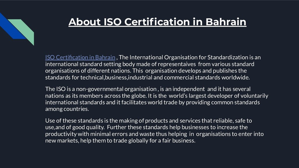 About ISO Certification in Bahrain ISO Certificat...