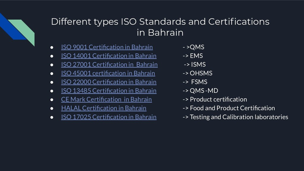 Different types ISO Standards and Certifications...