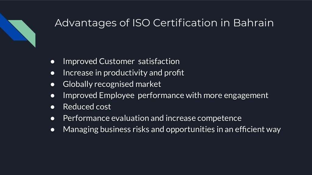 Advantages of ISO Certification in Bahrain ● Imp...