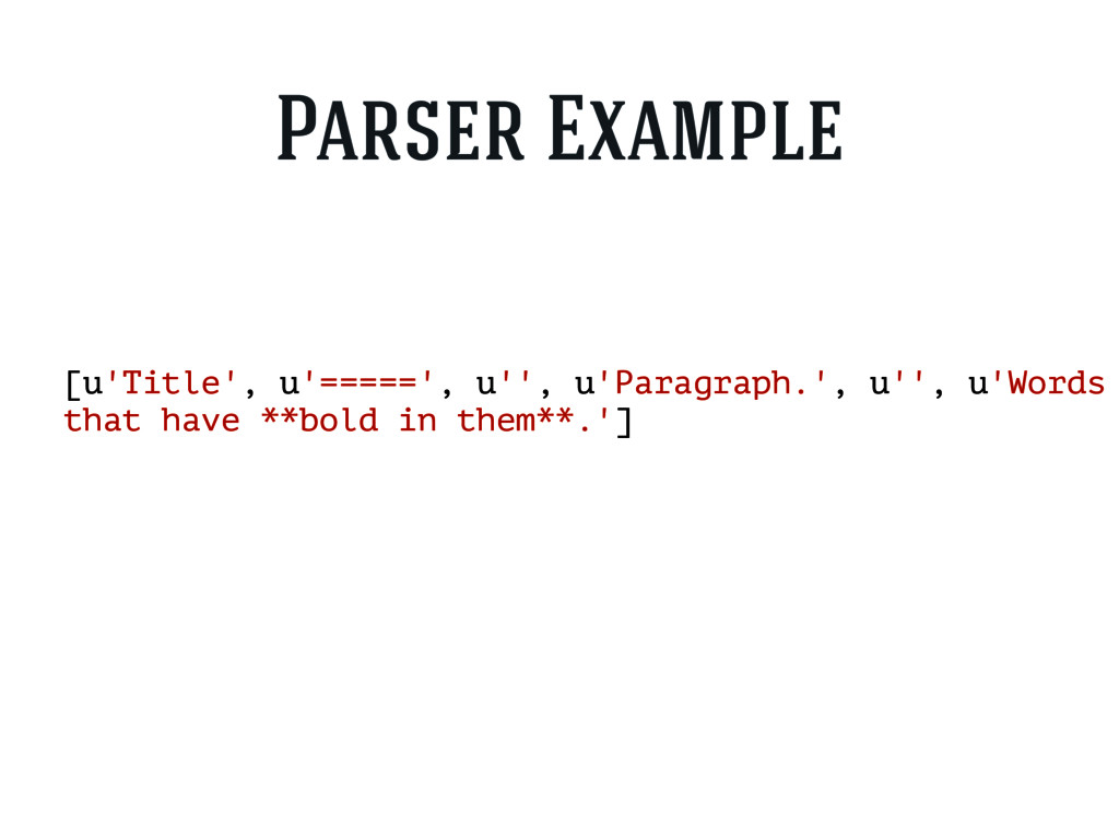 [u'Title', u'=====', u'', u'Paragraph.', u'', u...