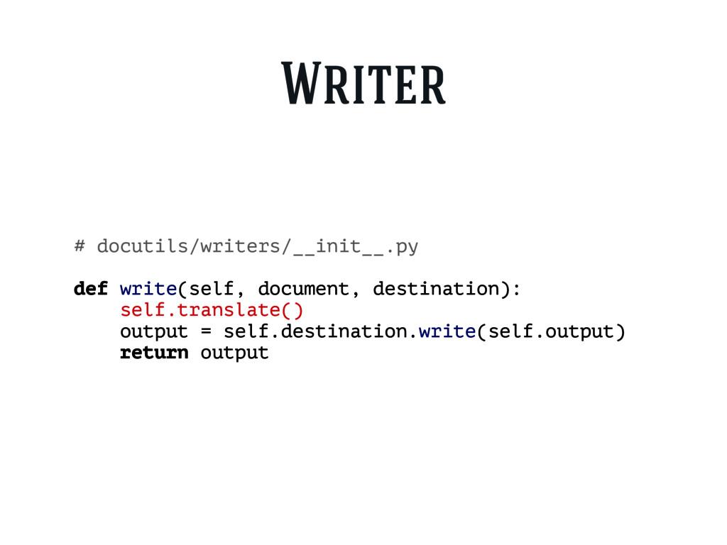 Writer # docutils/writers/__init__.py def write...