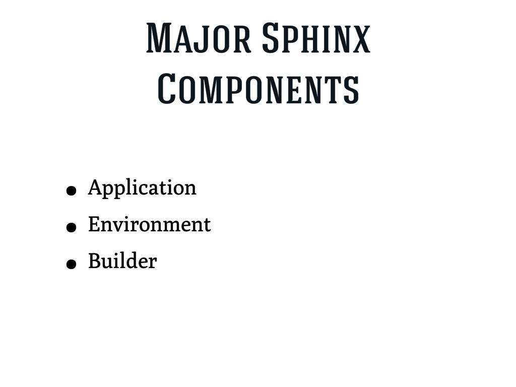 Major Sphinx Components • Application • Environ...