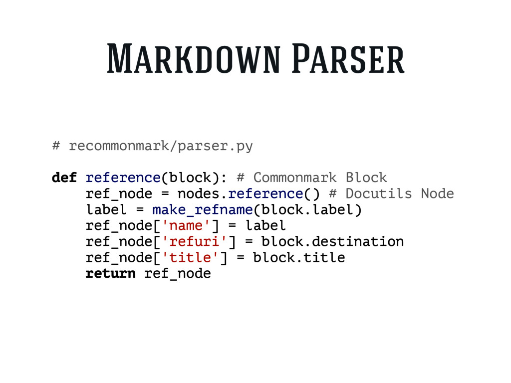 # recommonmark/parser.py def reference(block): ...