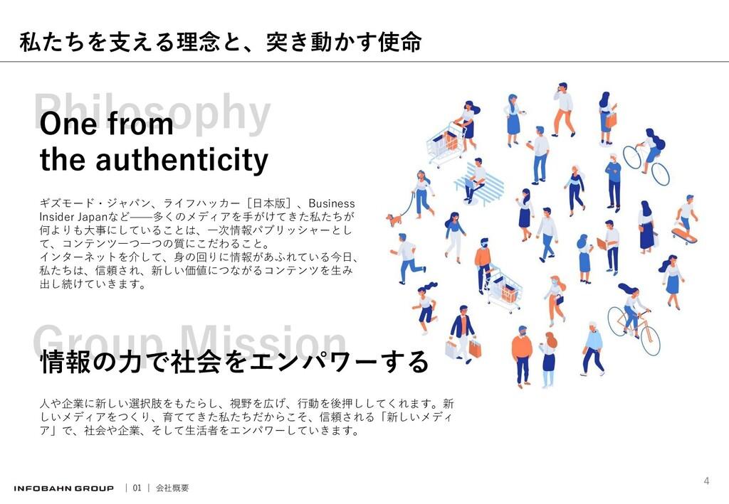 Group Mission Philosophy 私たちを支える理念と、突き動かす使命 One...
