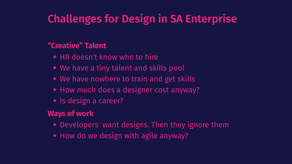"Challenges for Design in SA Enterprise ""Creativ..."