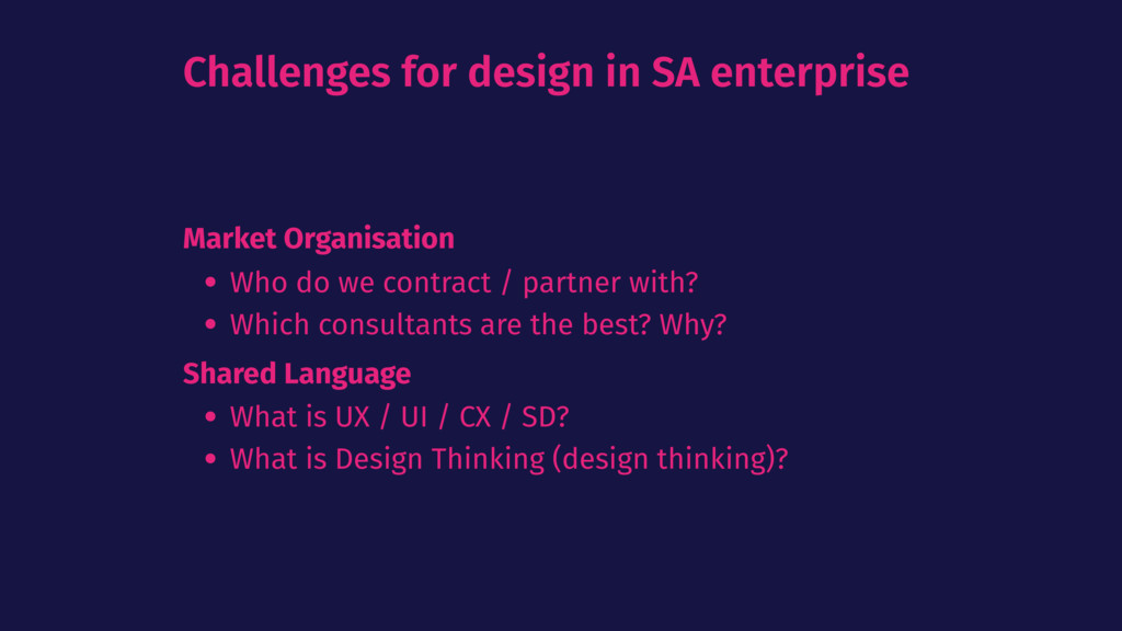 Challenges for design in SA enterprise Market O...