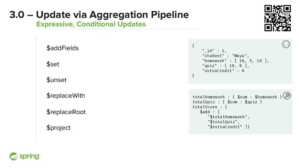 "3.0 – Update via Aggregation Pipeline {…} { ""_i..."