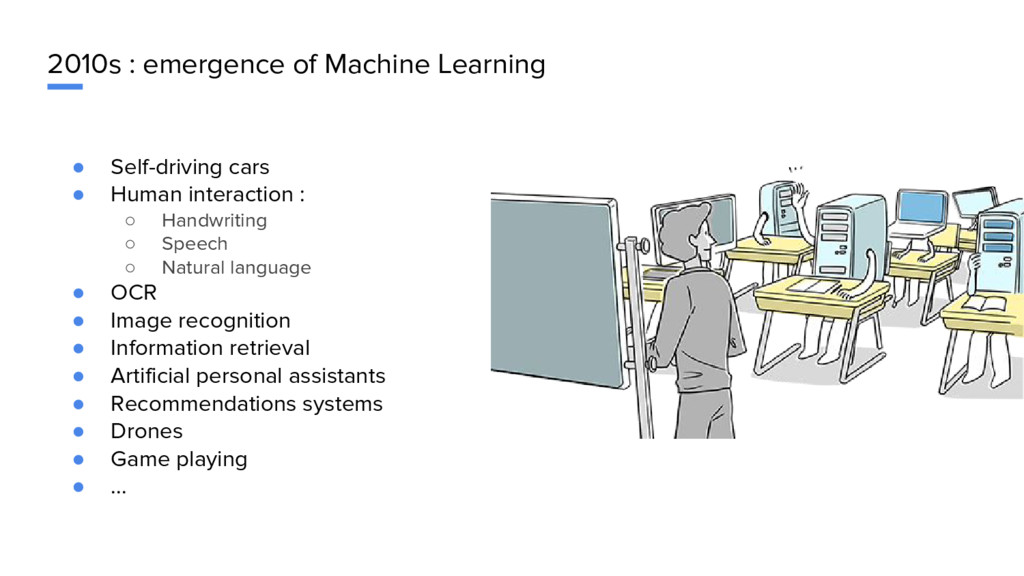 2010s : emergence of Machine Learning ● Self-dr...