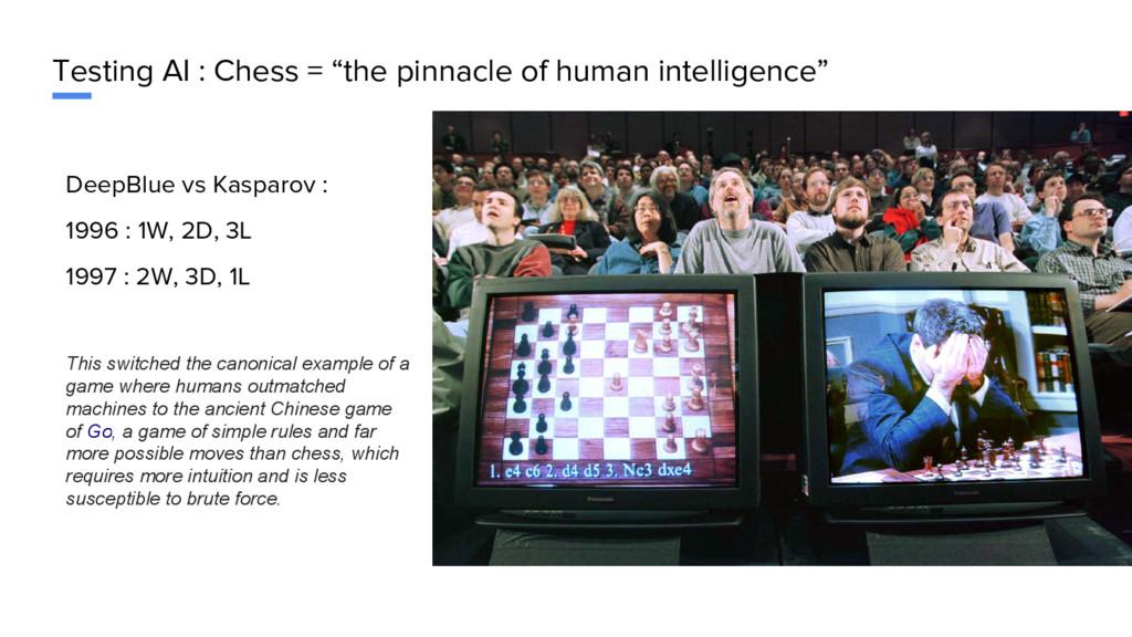 "Testing AI : Chess = ""the pinnacle of human int..."