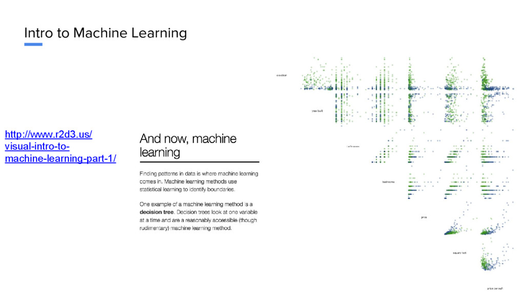 Intro to Machine Learning http://www.r2d3.us/ v...