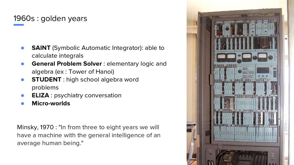 1960s : golden years ● SAINT (Symbolic Automati...